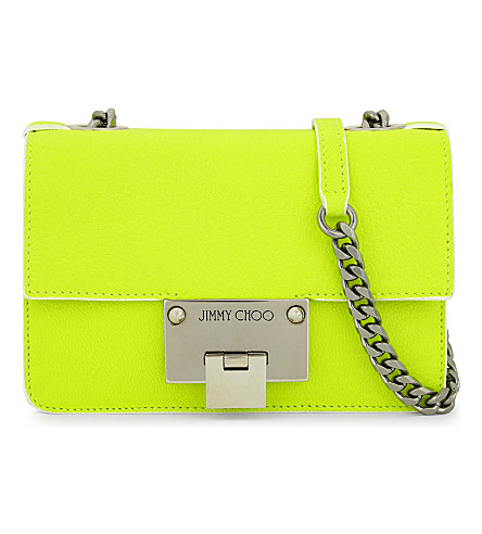 JIMMY CHOO Rebel Soft Mini Fluorescent leather cross-body bag (Shocking+yellow