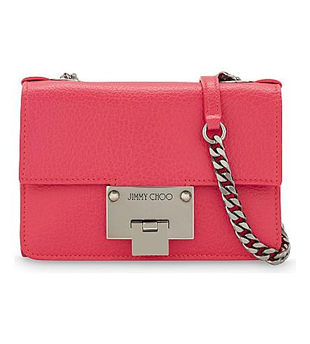 JIMMY CHOO Rebel Soft Mini Fluorescent leather cross-body bag (Shocking+pink