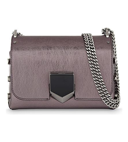 JIMMY CHOO Lockett Petite leather shoulder bag (Vintage+rose