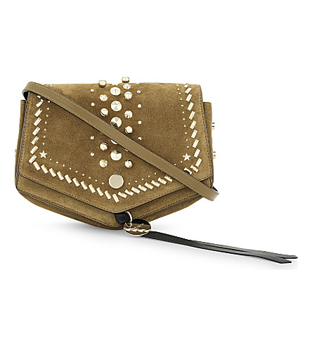 JIMMY CHOO Arrow stud-embellished suede cross-body bag (Hazel