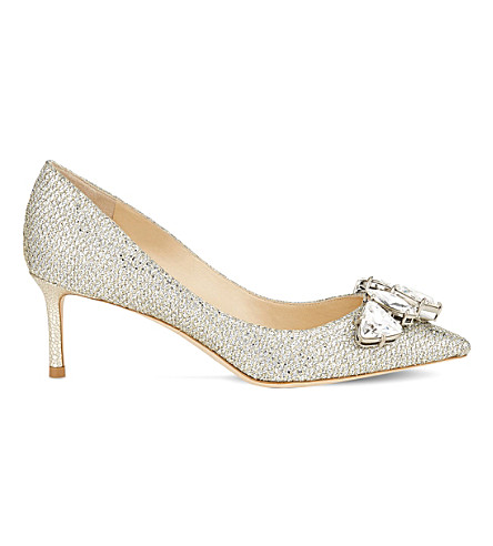 JIMMY CHOO Marvel 60 woven-glitter courts (Champagne/crystal