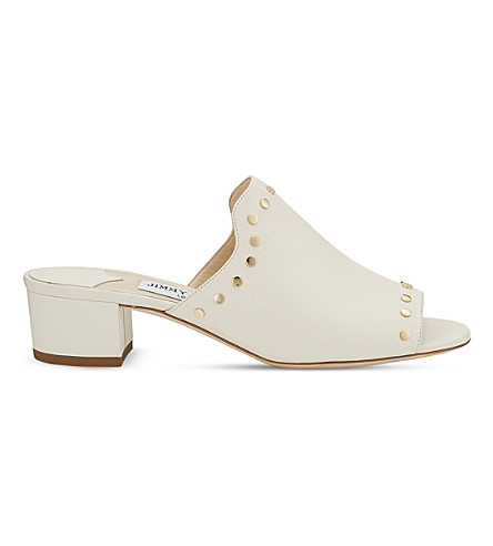 JIMMY CHOO Myla 35 leather backless mules (White/gold
