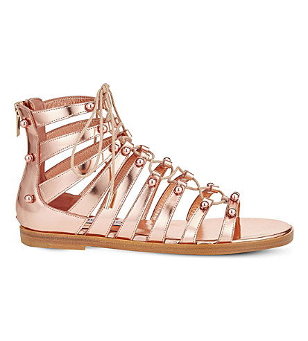 JIMMY CHOO Gigi mirror-leather gladiator sandals (Tea+rose