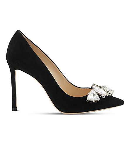 JIMMY CHOO Marvel 100 suede courts (Black/crystal
