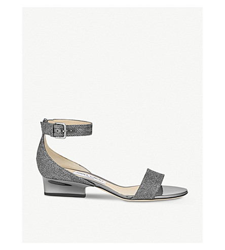 JIMMY CHOO Edina 35 glitter heeled sandals (Anthracite
