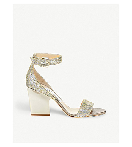 JIMMY CHOO Edina 85 glitter heeled sandals (Champagne