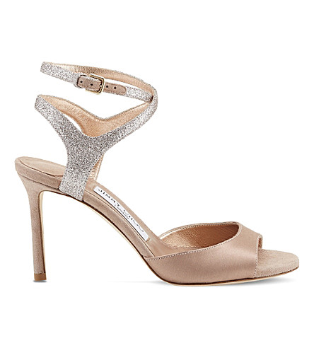 JIMMY CHOO Helen 85 satin and glitter heeled sandals (Tea+rose+mix