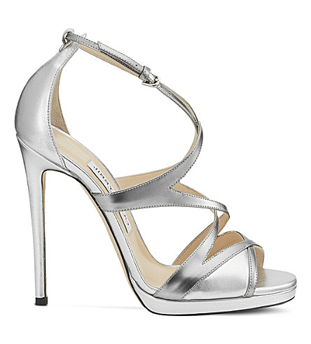 JIMMY CHOO Marianne 120 metallic-leather heeled sandals (Silver+mix