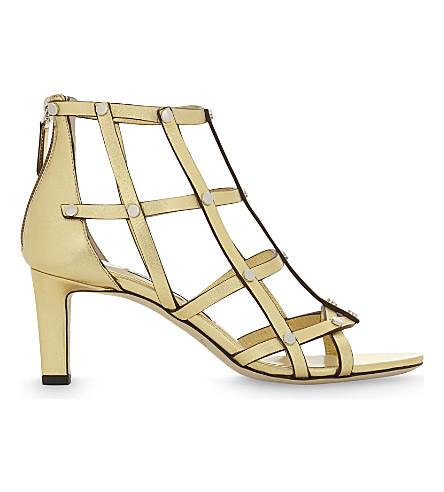 JIMMY CHOO Tina 65 leather heeled sandals (Roman+gold/silver