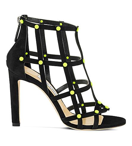 JIMMY CHOO Tina 100 suede heeled sandals (Shocking+yellow