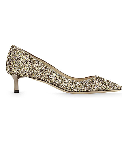 JIMMY CHOO Romy 40 coarse glitter courts (Antique+gold