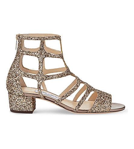 JIMMY CHOO Ren 35 glitter-embellished heeled sandals (Antique+gold