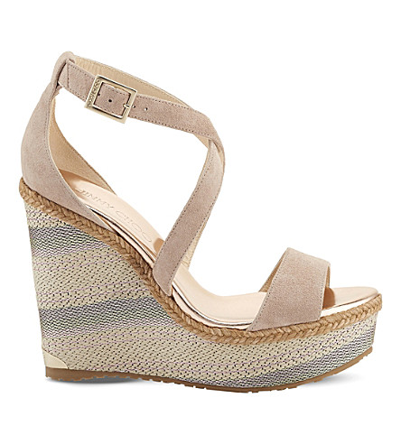 JIMMY CHOO Portia 120 suede wedge sandals (Tea+rose+mix