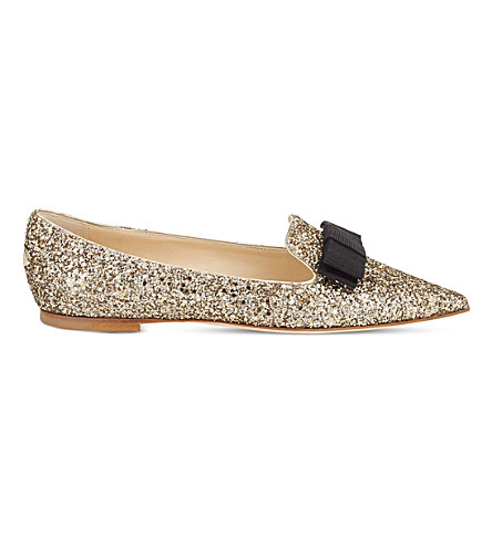 JIMMY CHOO Gala coarse glitter pointed-toe flats (Antique+gold