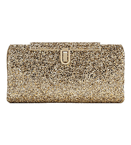 JIMMY CHOO Cay coarse-glitter clutch (Antique+gold