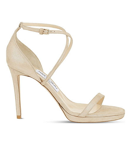 JIMMY CHOO Harper 120 suede heeled sandals (Sand