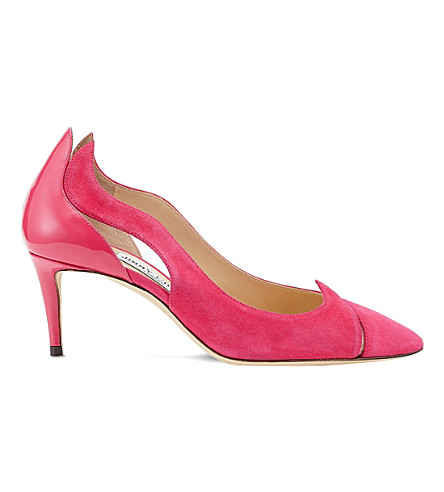 JIMMY CHOO Saga 65 leather and suede cutout courts (Pink/pink