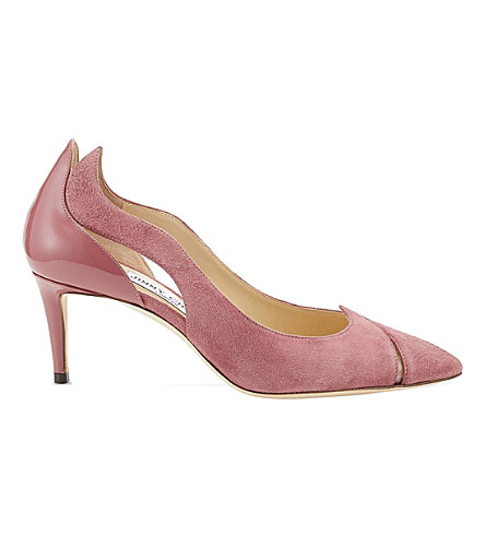 JIMMY CHOO Saga 65 leather and suede cutout courts (Vintage+rose
