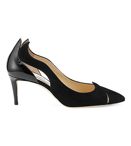 JIMMY CHOO Saga 65 leather and suede cutout courts (Black/black