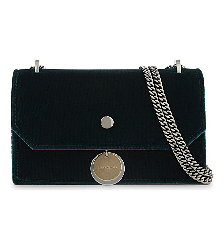 JIMMY CHOO Finley velvet cross-body bag (Bottle+green