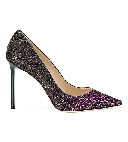 JIMMY CHOO Romy 100 coarse glitter courts (Pink/black