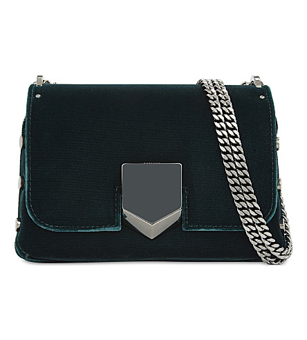 JIMMY CHOO Lockett Petite velvet shoulder bag (Bottle+green