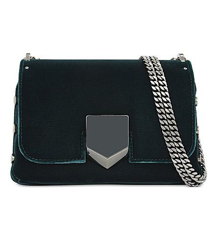 JIMMY CHOO Lockett Petite velvet shoulder bag (Bottle+green