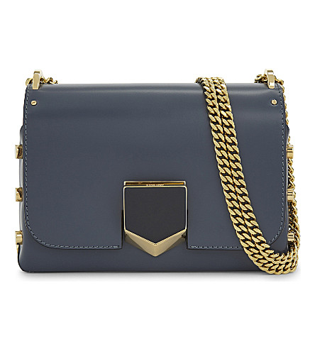JIMMY CHOO Lockett Petite leather shoulder bag (Stormy+blue