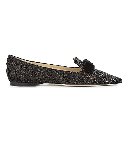 JIMMY CHOO Gala glitter pointed-toe flats (Rainbow/black
