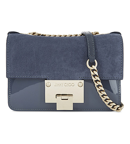 JIMMY CHOO Rebel Soft Mini suede cross-body bag (Stormy+blue