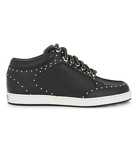 JIMMY CHOO Miami studded leather trainers (Black/silver