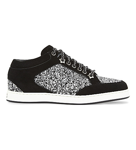 JIMMY CHOO Miami leather and glitter trainers (Black+&+white