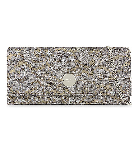 JIMMY CHOO Fie Love Lace leather clutch (Vino/silver