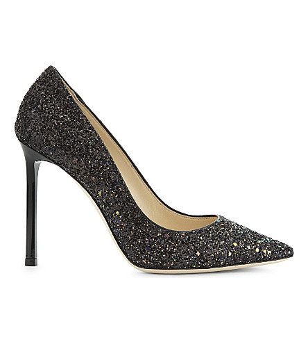 JIMMY CHOO Romy 100 coarse glitter courts (Rainbow/black
