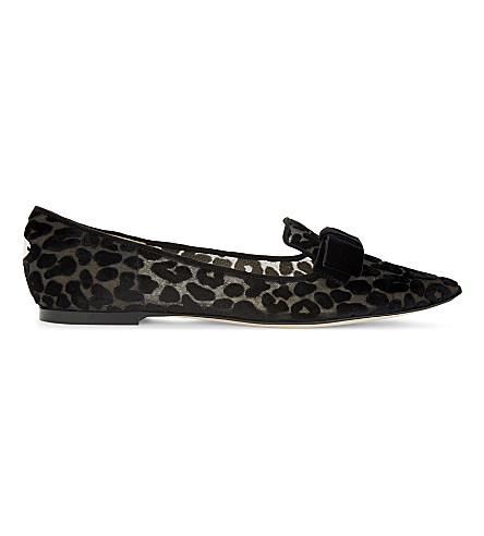 JIMMY CHOO Gala mesh pointed-toe flats (Black