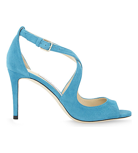 JIMMY CHOO Emily 85 suede heeled sandals (Roman+blue