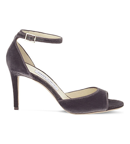 JIMMY CHOO Annie 85 velvet heeled sandals (Bottle+green