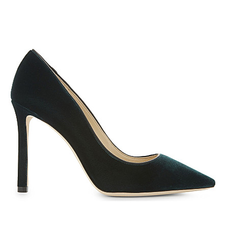 JIMMY CHOO Romy 100 velvet heeled courts (Bottle+green