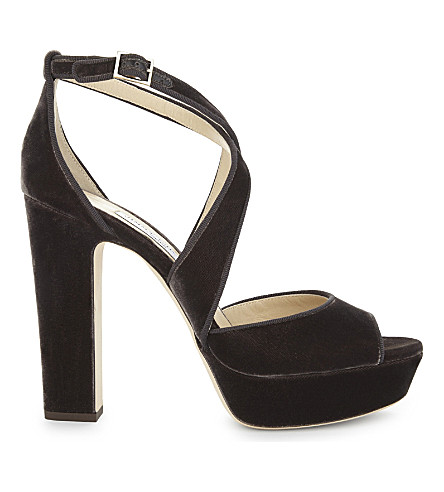 JIMMY CHOO April 120 velvet heeled sandals (Dark+mink