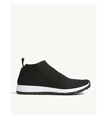 JIMMY CHOO Norway knitted textile trainers (Black/black