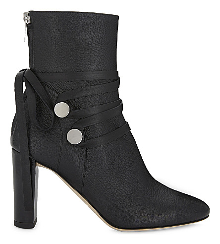 JIMMY CHOO Houston 85 leather heeled ankle boots (Black