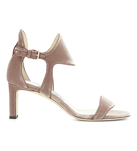 JIMMY CHOO Molly 65 velvet heeled sandals (Ballet+pink