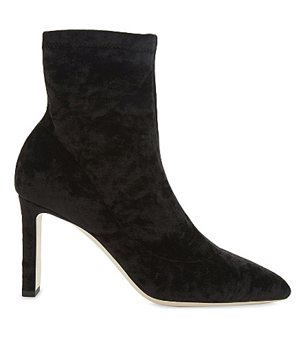 JIMMY CHOO Louella 85 crushed-velvet heeled ankle boots (Black