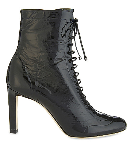 JIMMY CHOO Daize 85 patent-leather heeled ankle boots (Black