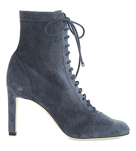 JIMMY CHOO Daize 85 cashmere suede ankle boots (Stormy+blue