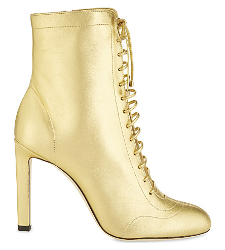 JIMMY CHOO Daize 100 leather heeled ankle boots (Roman+gold
