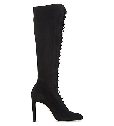 JIMMY CHOO Desiree 100 suede knee-high boots (Black