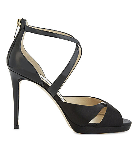 JIMMY CHOO Lorina 100 patent-leather and satin heeled sandals (Black/black
