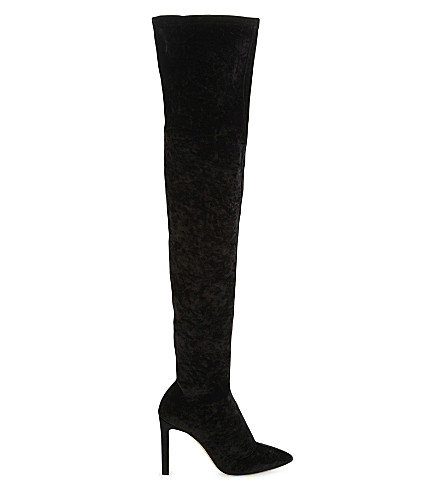 JIMMY CHOO Lorraine 100 velvet over-the-knee boots (Black