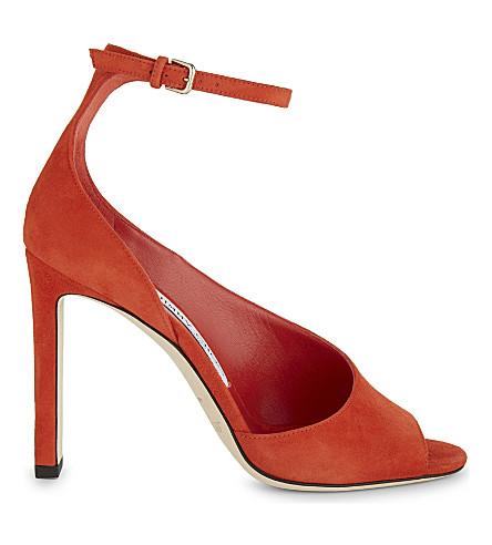 JIMMY CHOO Theresa 100 suede heeled sandals (Fire